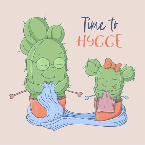 Bonito dos desenhos animados cartão postal cactos avó e neta aprendem a tricotar vetor