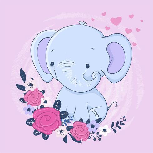 Elefante bonito dos desenhos animados com um buquê de rosas vetor