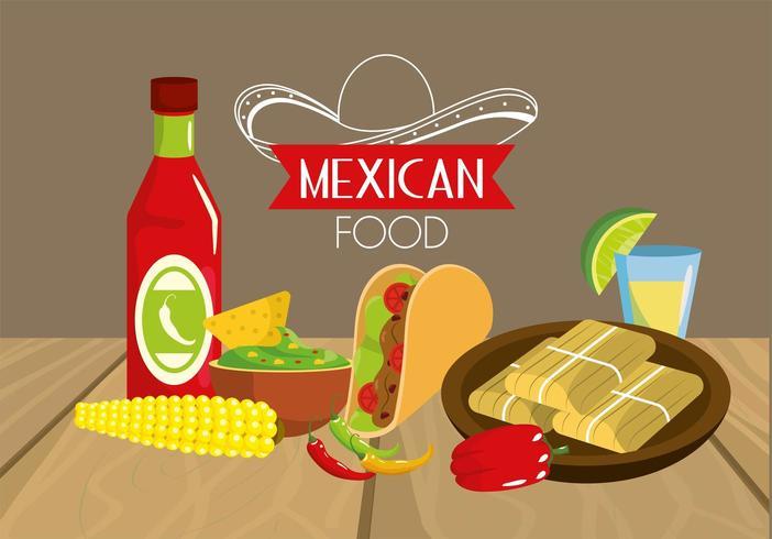 comida mexicana de tacos com molhos e sabugo vetor