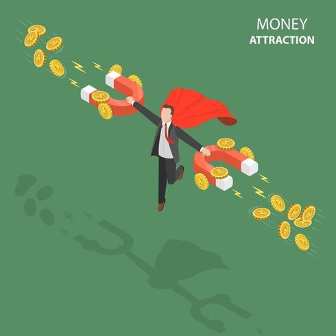 Atração de dinheiro plana isométrica baixo poli vetor