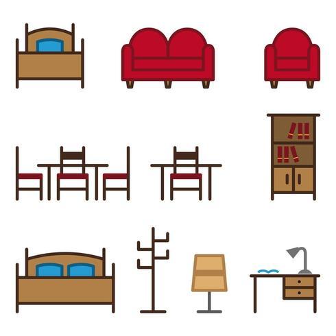 Conjunto de ícones de móveis de cores vetor