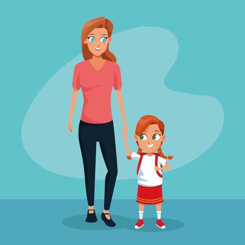 Mãe e filha no primeiro dia de aula vetor