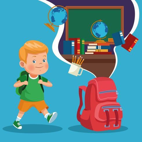 Volta para escola crianças desenhos animados vetor