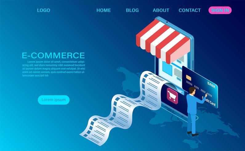 Conceito de compras on-line de comércio eletrônico vetor
