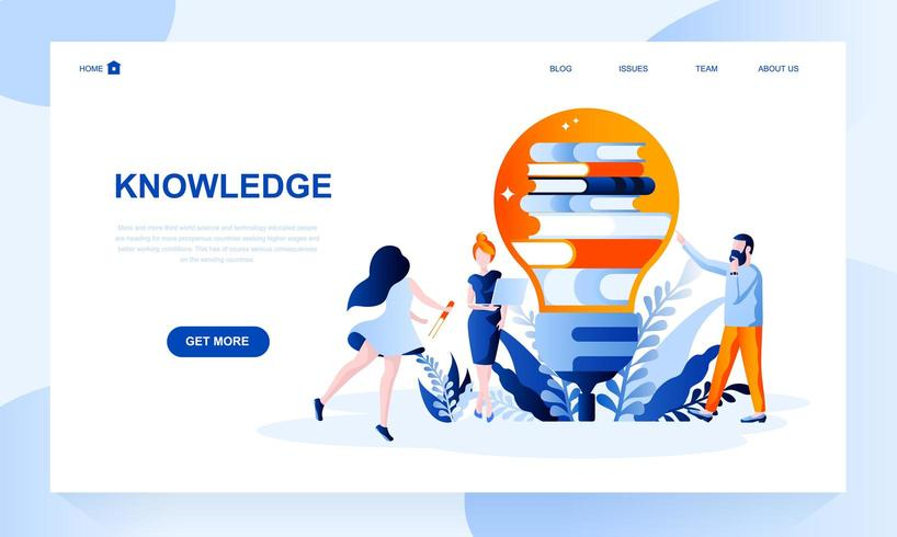 Modelo de página de destino de vetor de conhecimento com cabeçalho