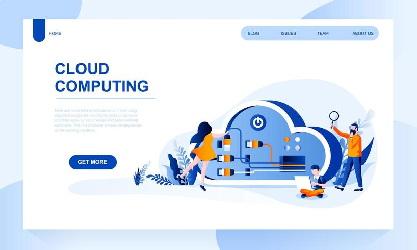 Modelo de página de destino de vetor de computação em nuvem com cabeçalho
