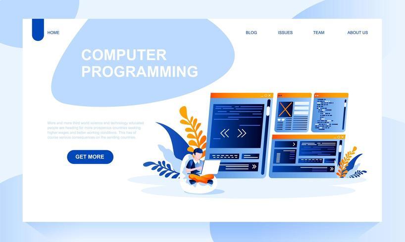 Modelo de página de aterrissagem de vetor de programação de computador