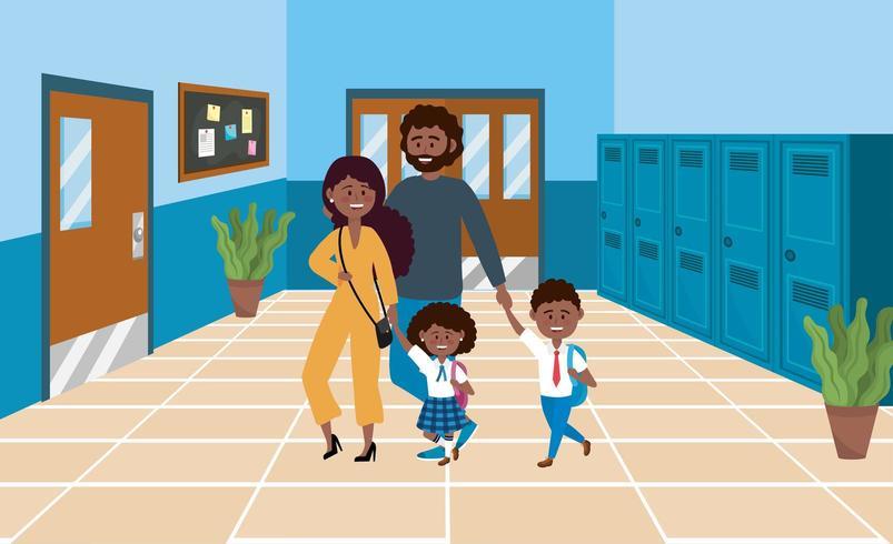 mãe e pai com seus alunos menino e menina vetor