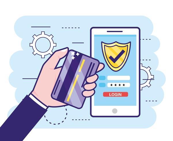 mão com cartão de crédito e smartphone com senha de finanças vetor