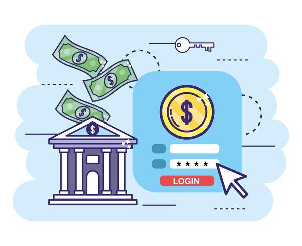 banco com transação digital e senha de segurança vetor