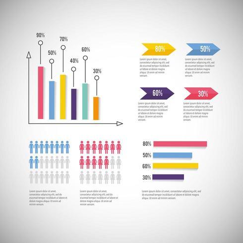 diagrama de negócios infográfico com estratégia de informação vetor
