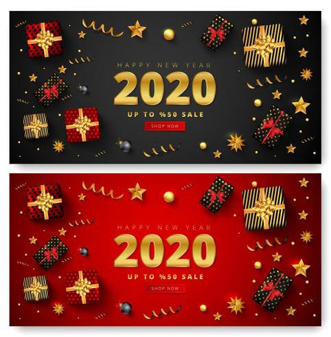 Feliz ano novo 2020 conjunto de banner de venda vetor