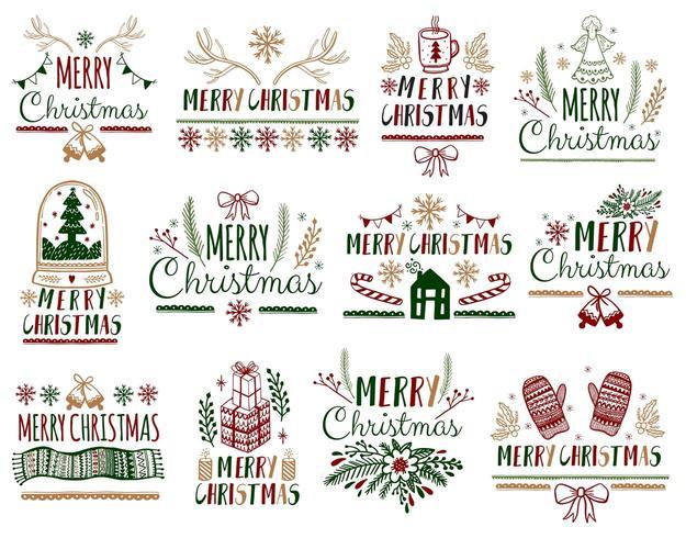 Conjunto de saudações de feliz Natal vetor