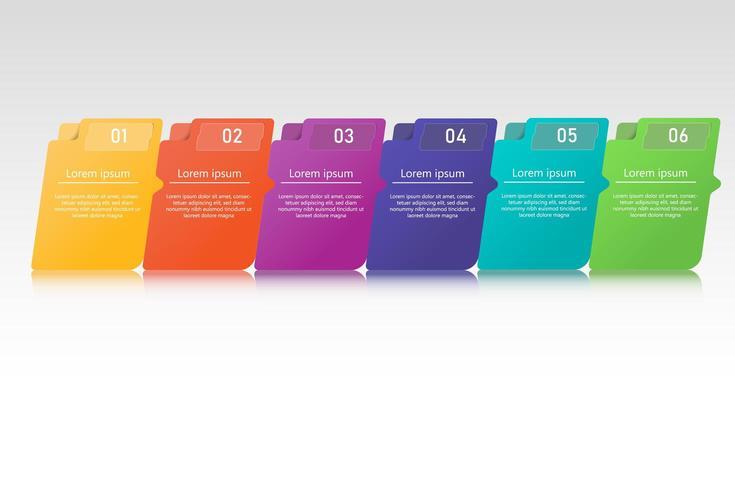 Infográfico de pasta colorida com reflexão vetor