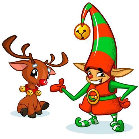 Duende de Natal dos desenhos animados vetor