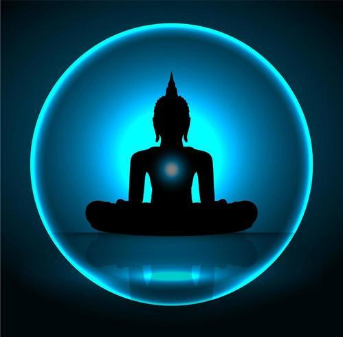 Silhueta negra de Buda vetor