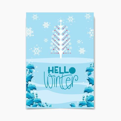 Olá design de inverno com árvore um flocos de neve vetor