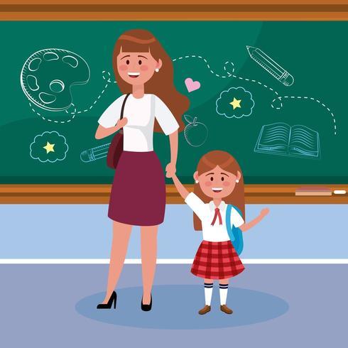 mãe com sua aluna com mochila e quadro-negro vetor