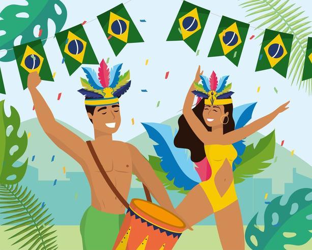 dançarinos de homem e mulher com tambor e fantasia vetor