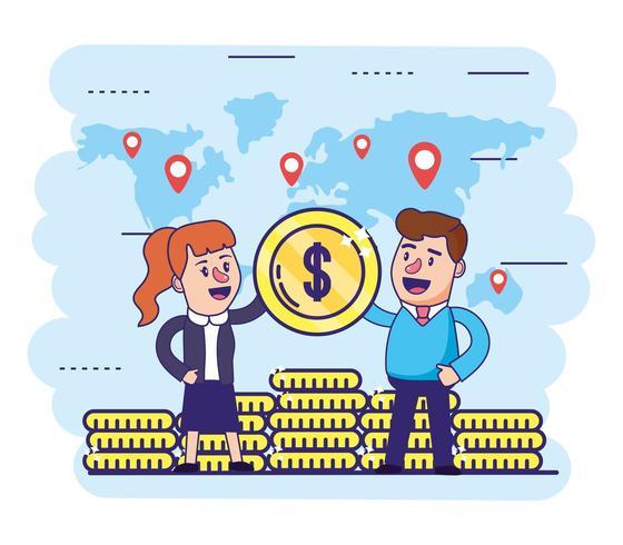mulher e homem com moedas de finanças globais vetor