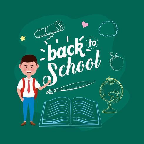 estudante de menino com mochila e livro com pincel vetor