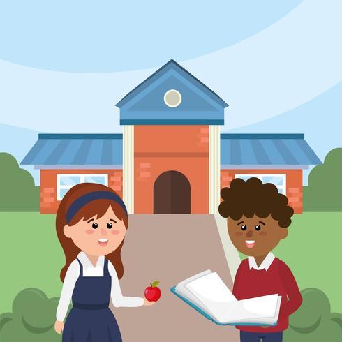 menino e menina na escola com material de educação vetor