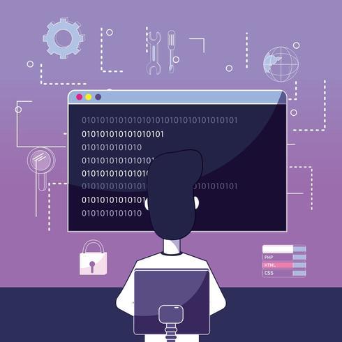 Desenho de programador de software vetor