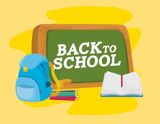quadro-negro com utensílios escolares mochila e caderno vetor