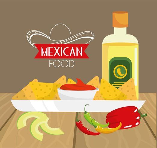 comida mexicana tradicional com abacate e tequila vetor