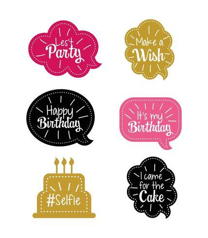 definir bolha de bate-papo com mensagem de feliz aniversário vetor