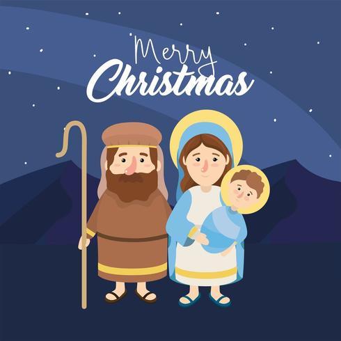 José e Mery com Jesus para feliz epifania vetor