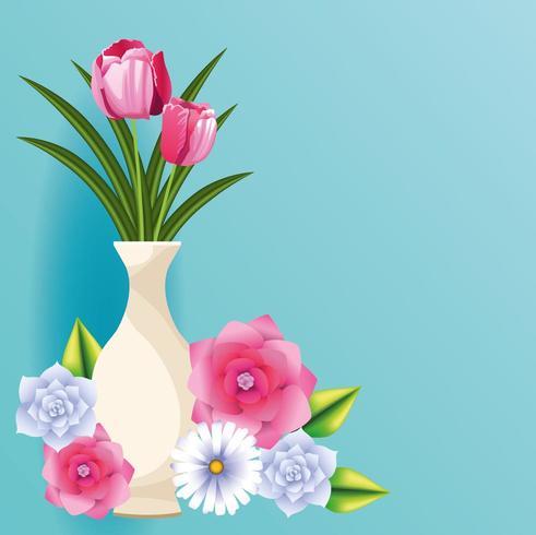 cartão de lindas flores vetor