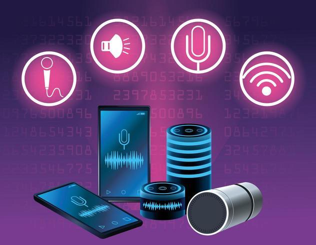 Alto-falante de reconhecimento de voz de smartphone com conjunto de ícones redondos vetor