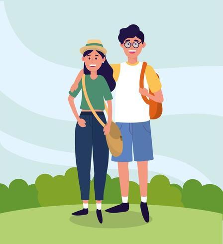 Universidade mulher e homem casal com mochila vetor