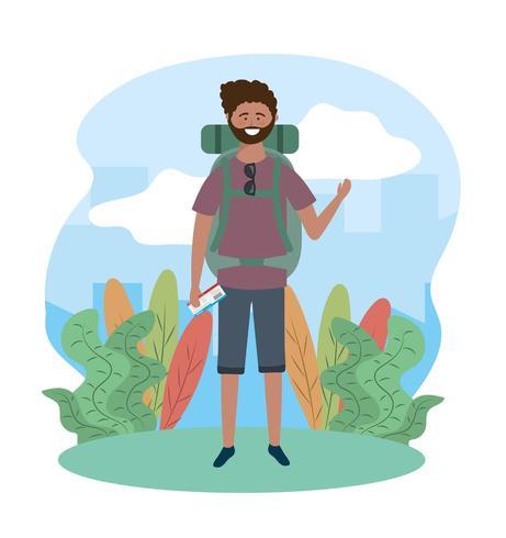 viajar homem nas plantas com mochila e óculos de sol vetor
