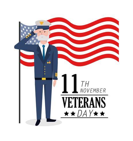 dia dos veteranos para celebração militar e bandeira vetor