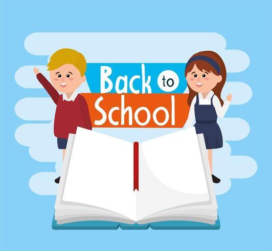 estudantes menino e menina vestindo uniforme com notebook vetor