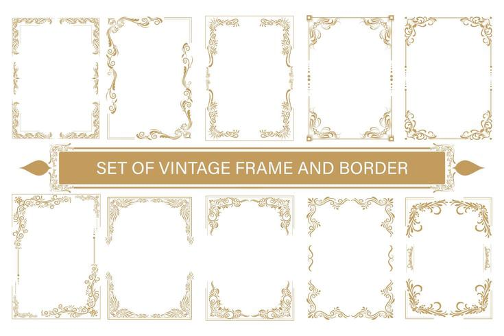 conjunto de quadros vintage e fronteira com filigrana bonita vetor