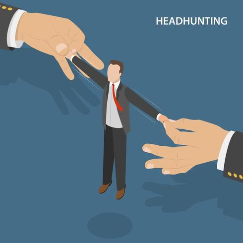 Conceito isométrico plano de Headhunting vetor