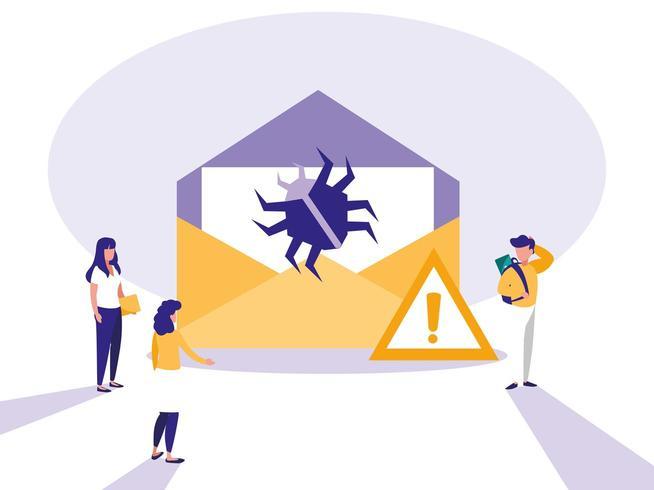 mini pessoas com envelope envelope e ataque de vírus vetor