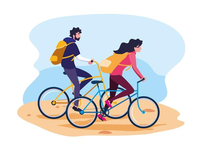 jovem casal andando de bicicleta avatar personagem vetor