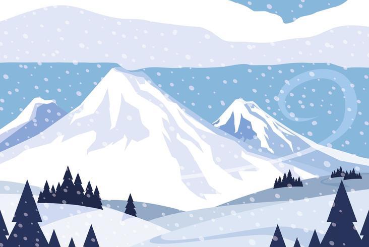 ícone de cena de natureza snowscape vetor