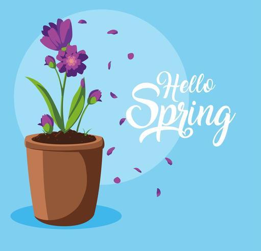 Olá cartão de primavera com lindas flores em pote vetor