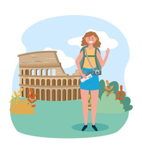 mulher com mochila e passagem para o destino do Coliseu vetor