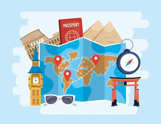 localizações de mapas globais com passaporte e cronômetro para o destino vetor
