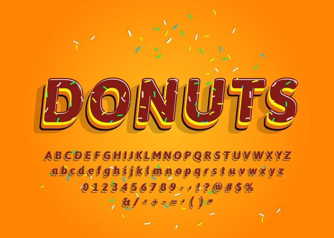 Alfabeto decorativo 3d de rosquinhas com cobertura colorida vetor