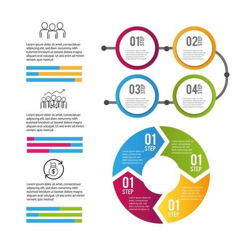 processo de informações de negócios de dados infográfico vetor