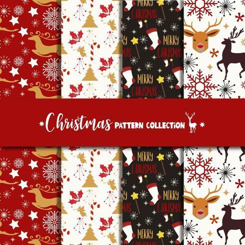 Conjunto de coleta de padrão de Natal vetor