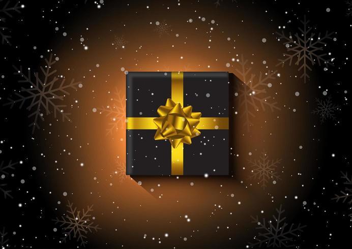 Presente de Natal em um fundo de floco de neve vetor