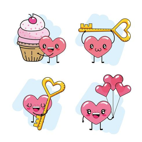 Conjunto de corações de dia dos namorados dos desenhos animados vetor